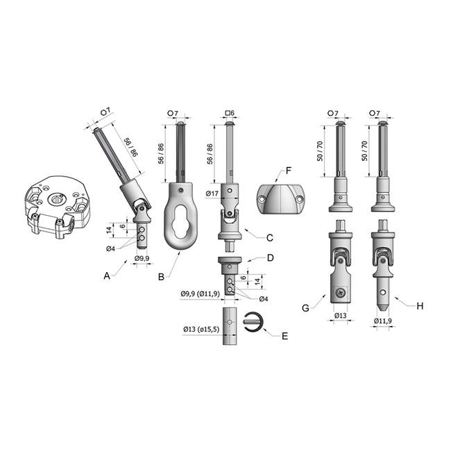 Komponenten Schneckengetrieben 7340-7343-7345-7347